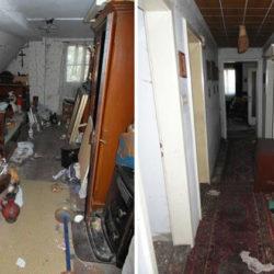Entrümpelung: Raum im Dachgeschoss mit Müll, Flur