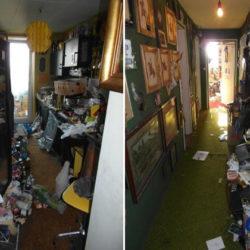 Entrümpelung: Messiwohnung München Flur mit Müll
