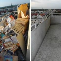 Entrümpelung: Messiwohnung München Balkon vorher und nachher