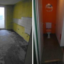 Entrümpelung: ausgeräumte Küche und Toilette