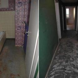Entrümpelung: ausgeräumtes Bad und Flur