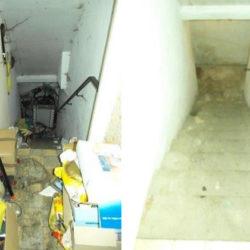 Mietnomaden München: Treppe mit Müll und nach Entrümpelung