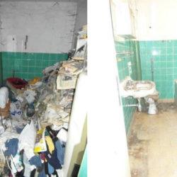 Mietnomaden München: Bad vor und nach Entrümpelung